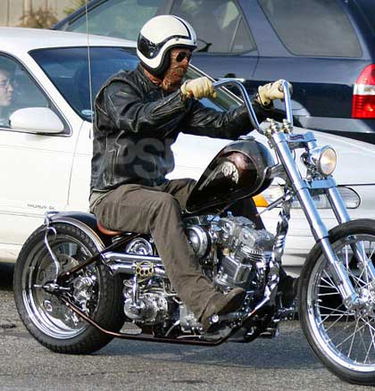 Supposedly Brad Pitt on a new chopper