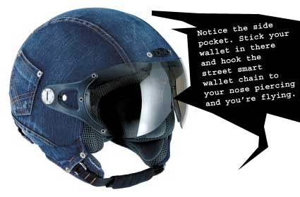 Denim motorcycle helmet